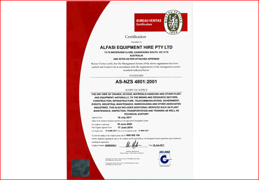 Alfasi Equipment Hire OHS Certificate 2017