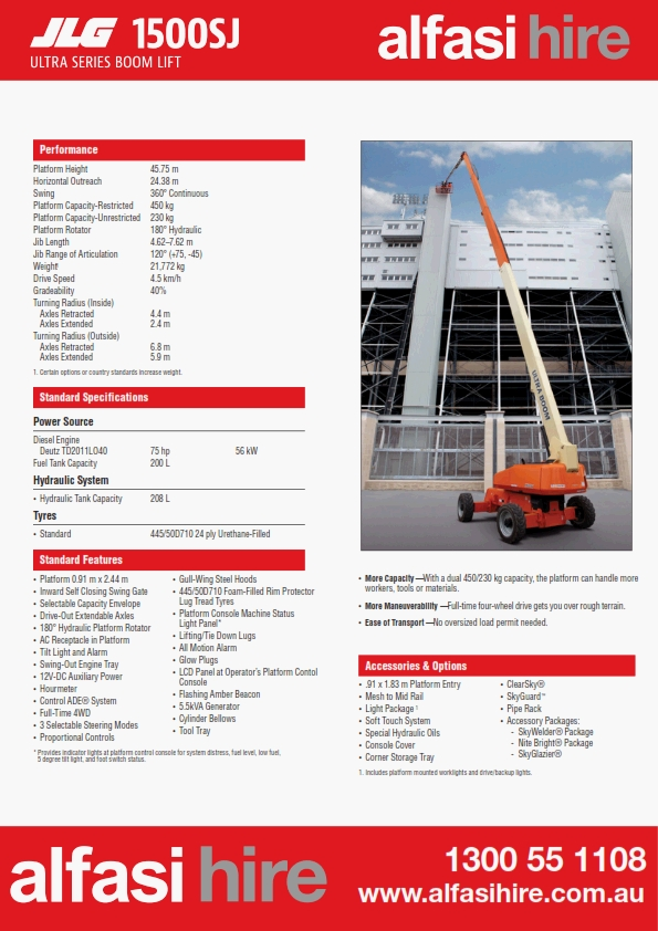 150 Diesel Straight Boom Specification