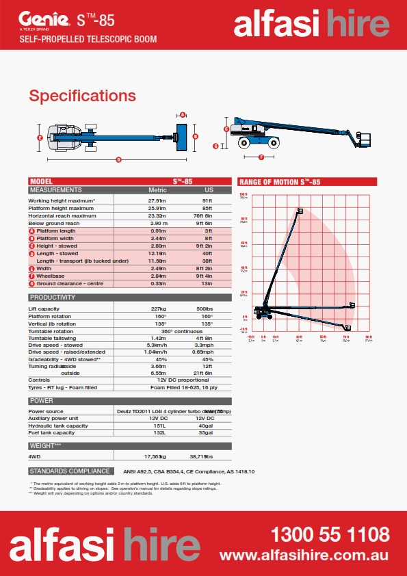 85 Diesel Straight Boom Specification