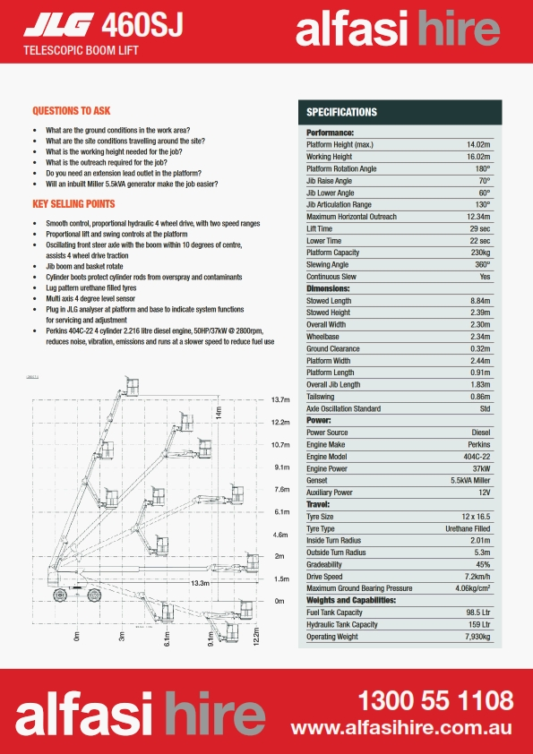 46 Diesel Straight Boom Specification