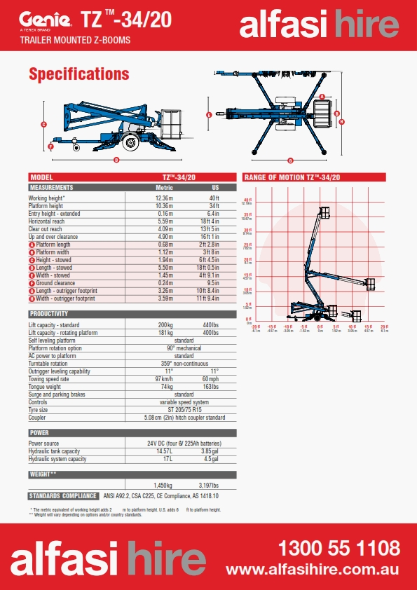 13M Trailer Mounted Boom Specification
