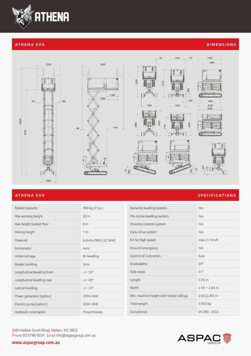 26 ATHENA EVO HYDRID SCISSOR LIFT Specifications