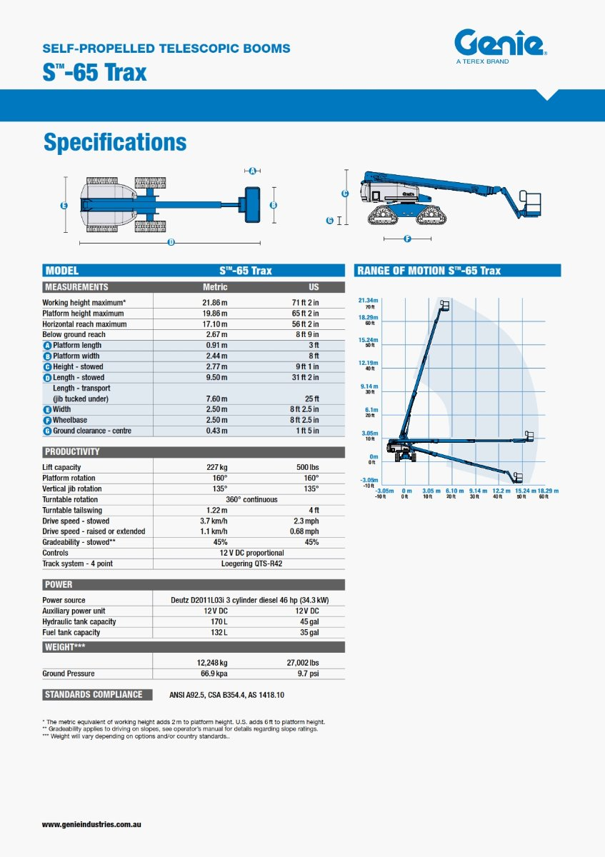 65 DIESEL STRAIGHT BOOM ON TRAX Specifications