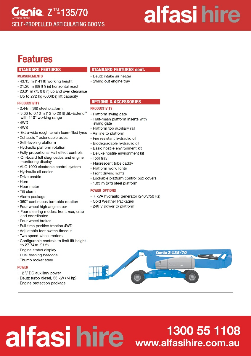 Boom Diesel Genie Z-135-70_Features
