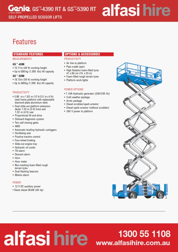 53 Diesel Rough Terrain Scissor Lift Features