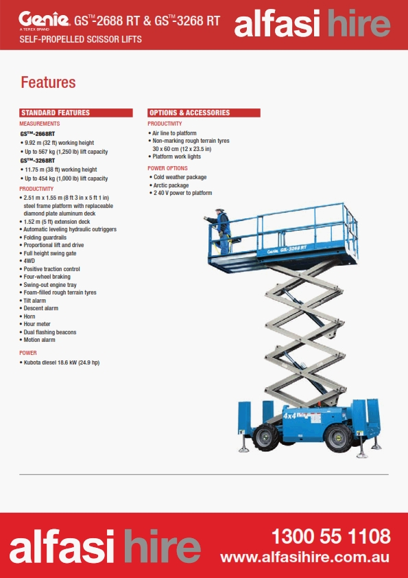 32 Diesel Rough Terrain Scissor Lift Features