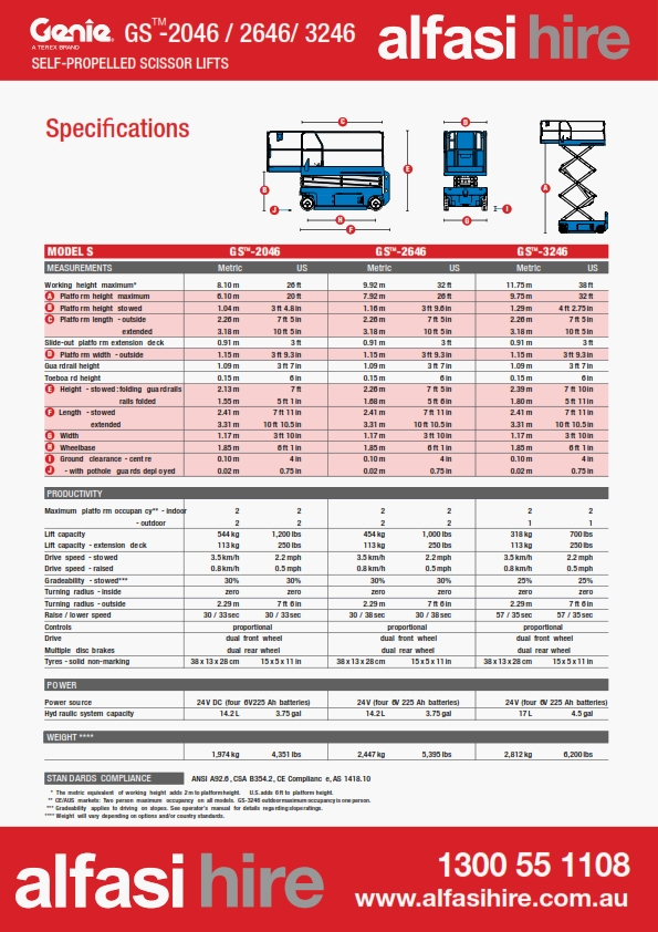 26 Electric Sissor Lift Specification
