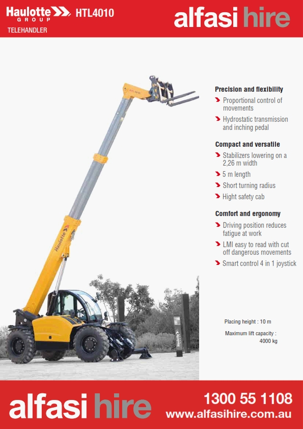 40T 10M Telehanders features