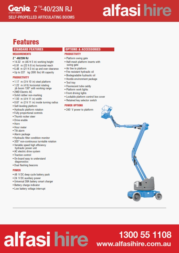 40 Electric Knuckle Boom Features