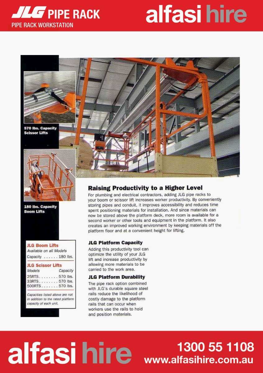 JLG Pipe Rack Specifications