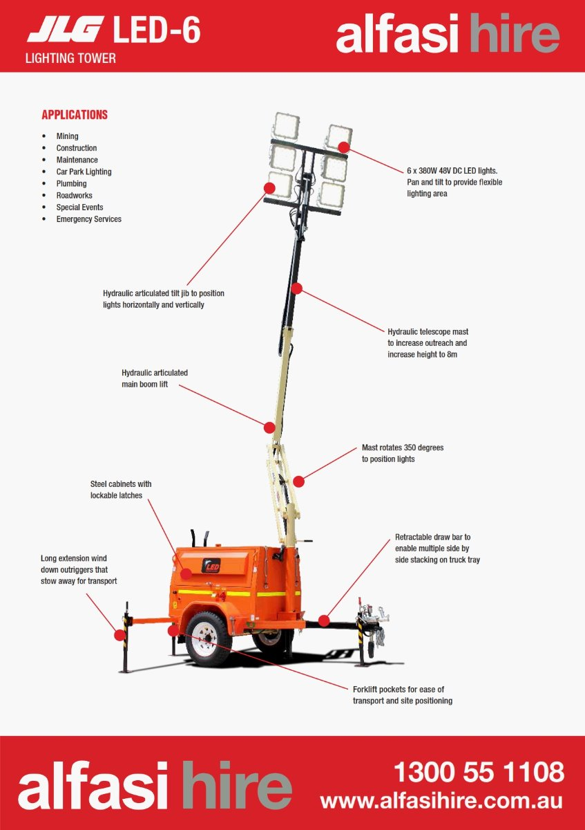 6 HEAD LED LIGHT TOWER Features