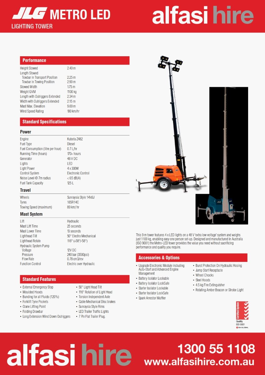 4  HEAD METRO LED LIGHT TOWER Specifications