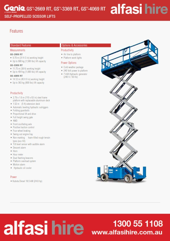 40 Diesel Rough Terrain Scissor Lift Features
