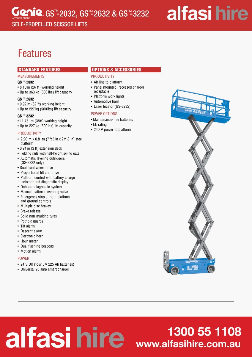 26 Narrow electric sissor lift Features